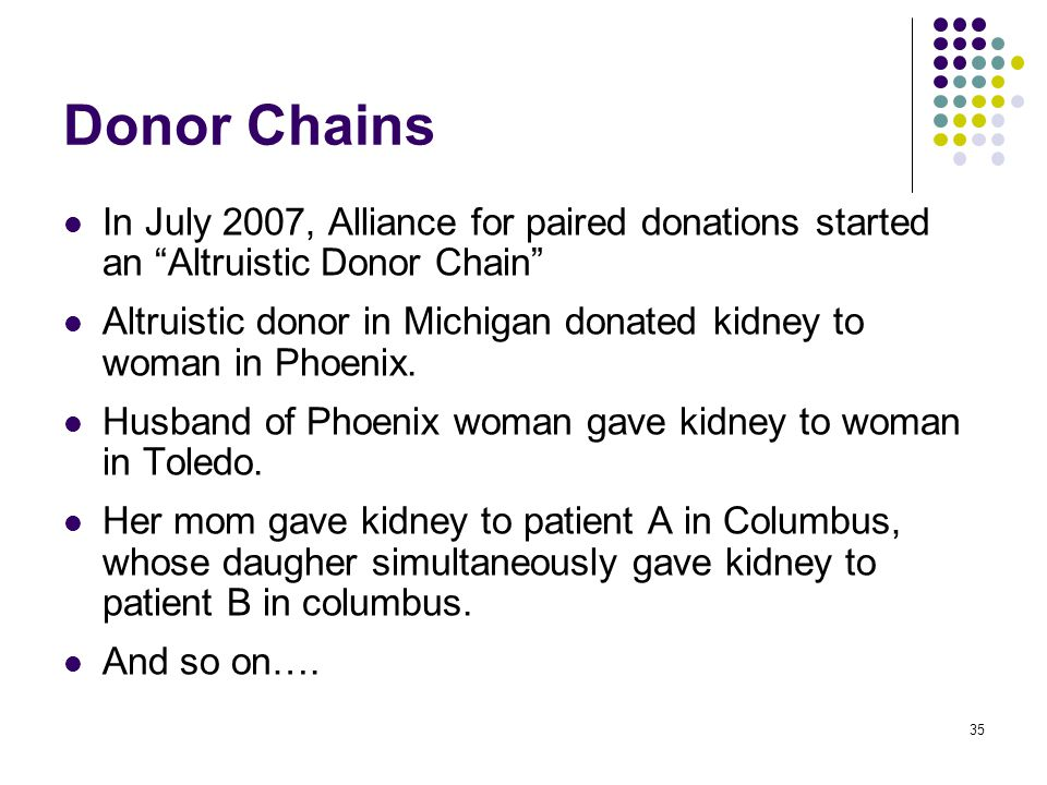 Donor Chains In July 2007, Alliance for paired donations started an Altruistic Donor Chain