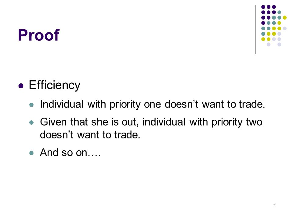 Proof Efficiency Individual with priority one doesn't want to trade.