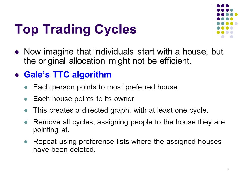 Top Trading Cycles Now imagine that individuals start with a house, but the original allocation might not be efficient.