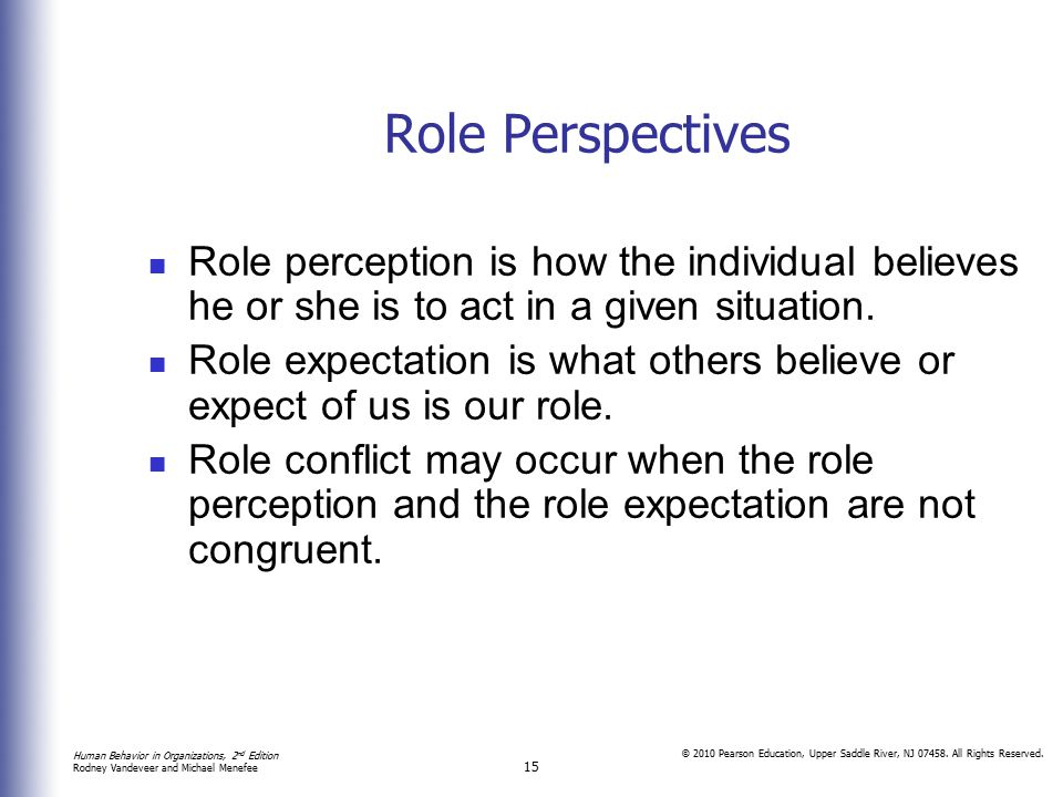 Role Perspectives Role perception is how the individual believes he or she is to act in a given situation.