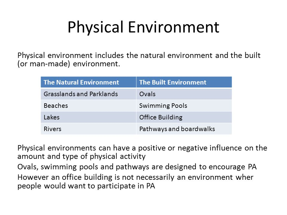 Physical Environment Physical environment includes the natural environment and the built (or man-made) environment.