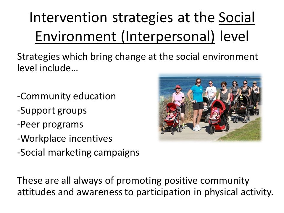 Intervention strategies at the Social Environment (Interpersonal) level