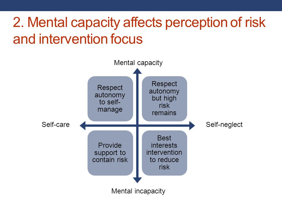 2. Mental capacity affects perception of risk and intervention focus