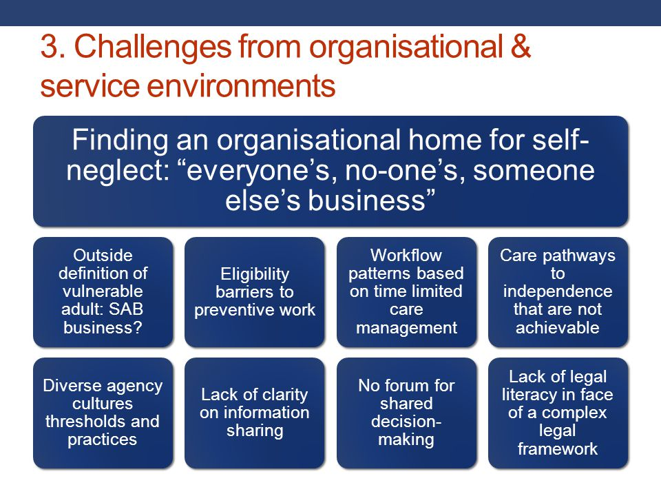 3. Challenges from organisational & service environments