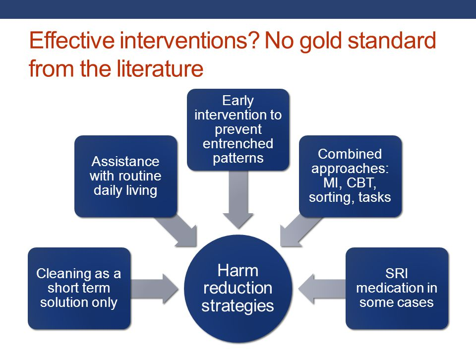 Effective interventions No gold standard from the literature