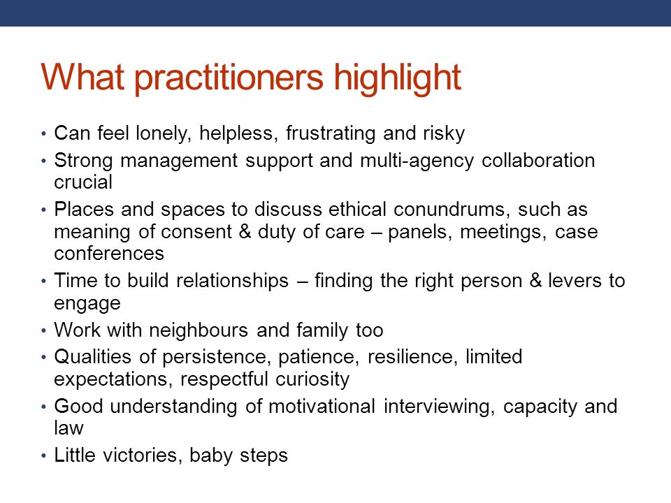 What practitioners highlight