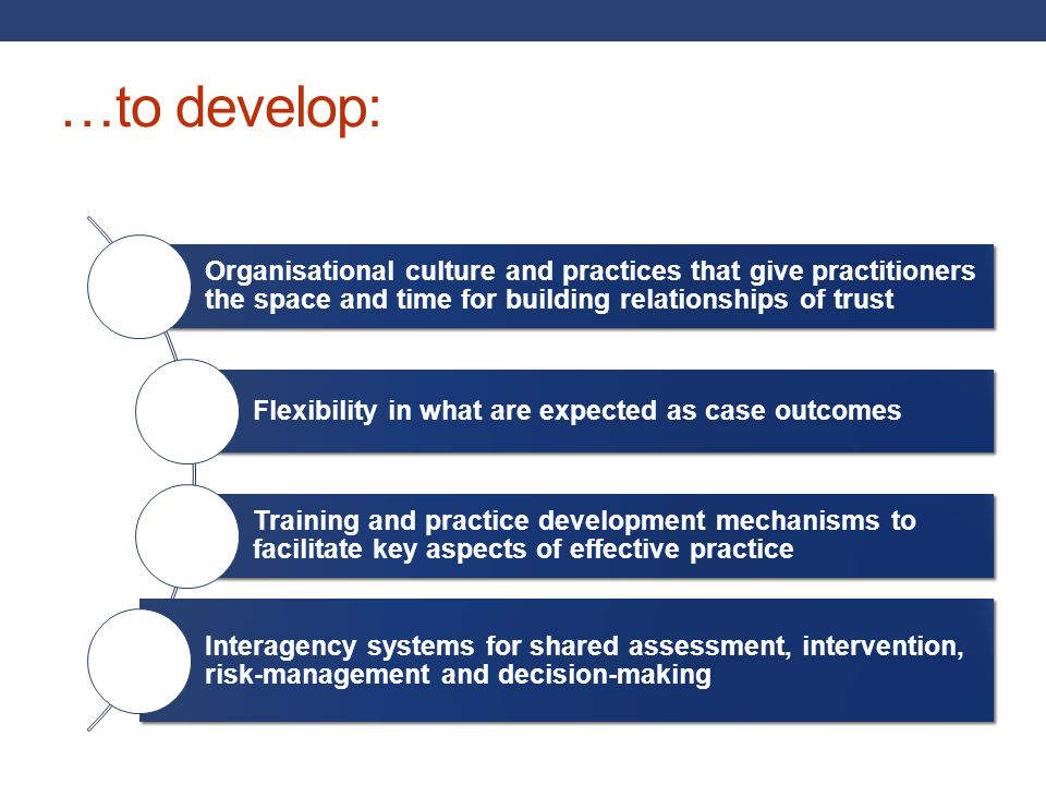 …to develop: Organisational culture and practices that give practitioners the space and time for building relationships of trust.
