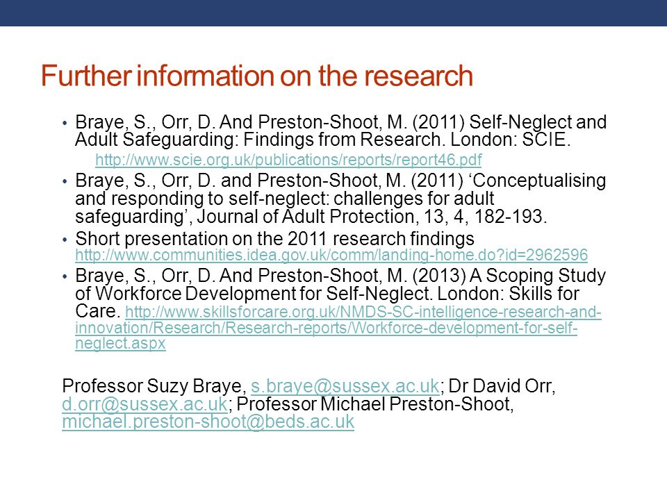 Further information on the research