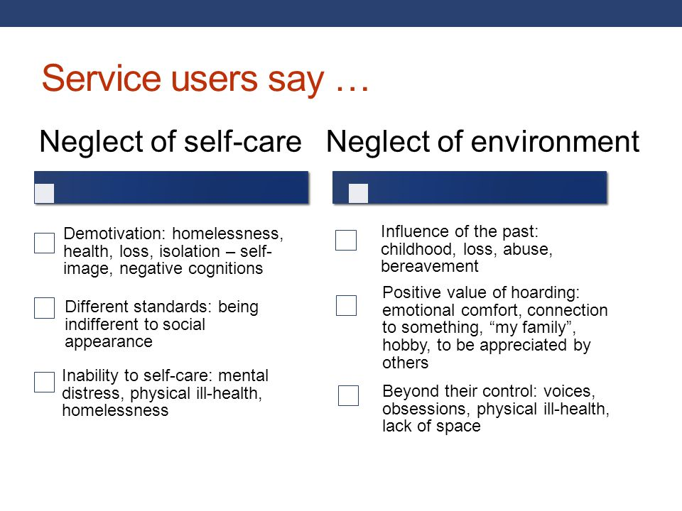 Service users say … Neglect of self-care Neglect of environment