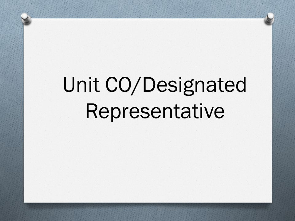 Unit CO/Designated Representative