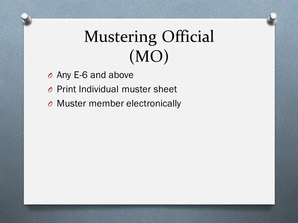 Mustering Official (MO)