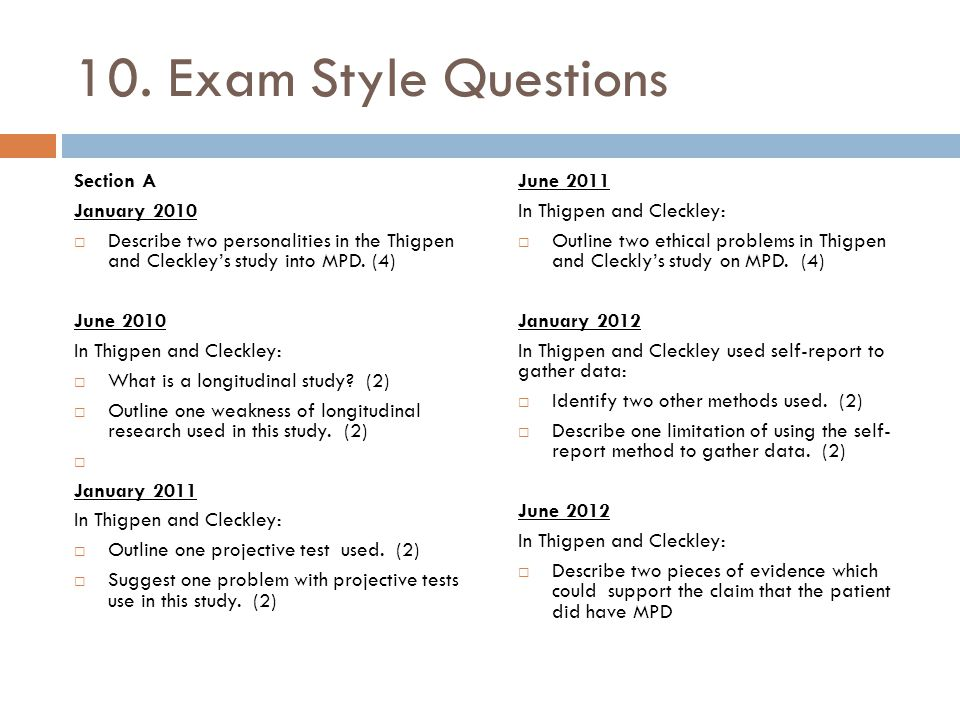 10. Exam Style Questions Section A January 2010