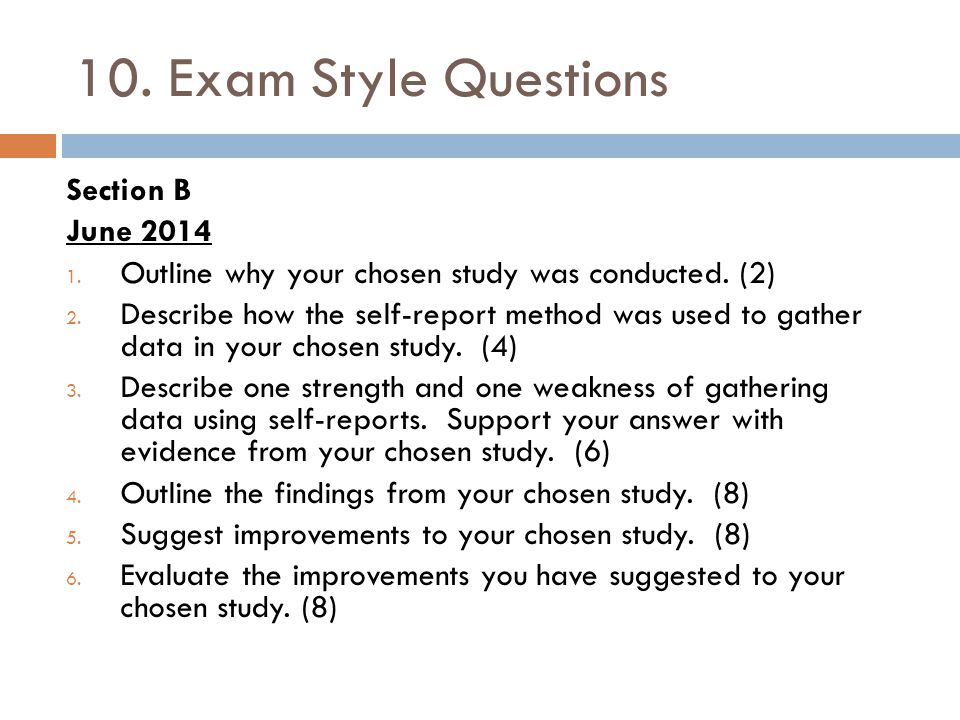 10. Exam Style Questions Section B June 2014