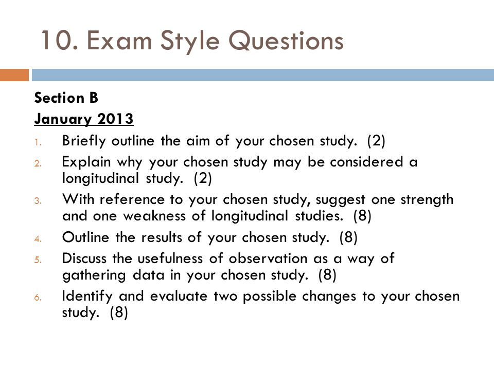10. Exam Style Questions Section B January 2013