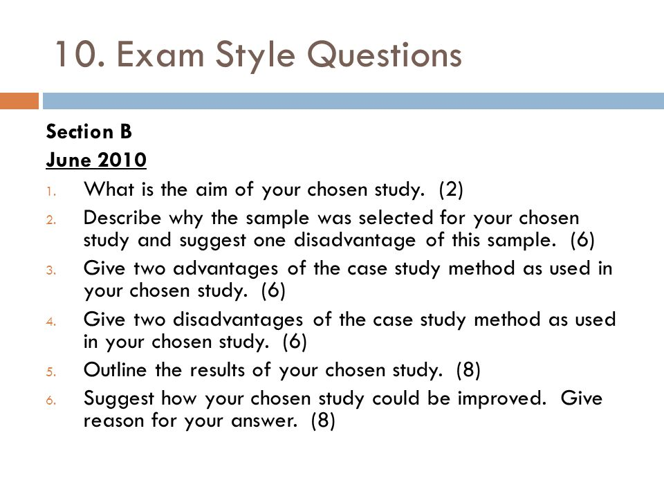 10. Exam Style Questions Section B June 2010