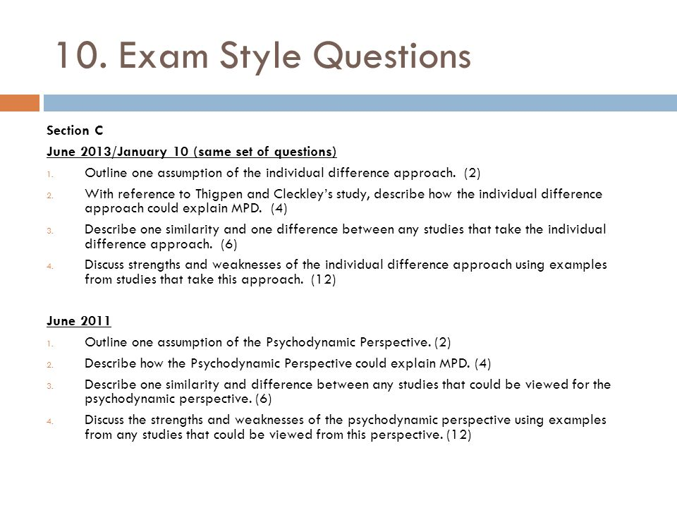 10. Exam Style Questions Section C