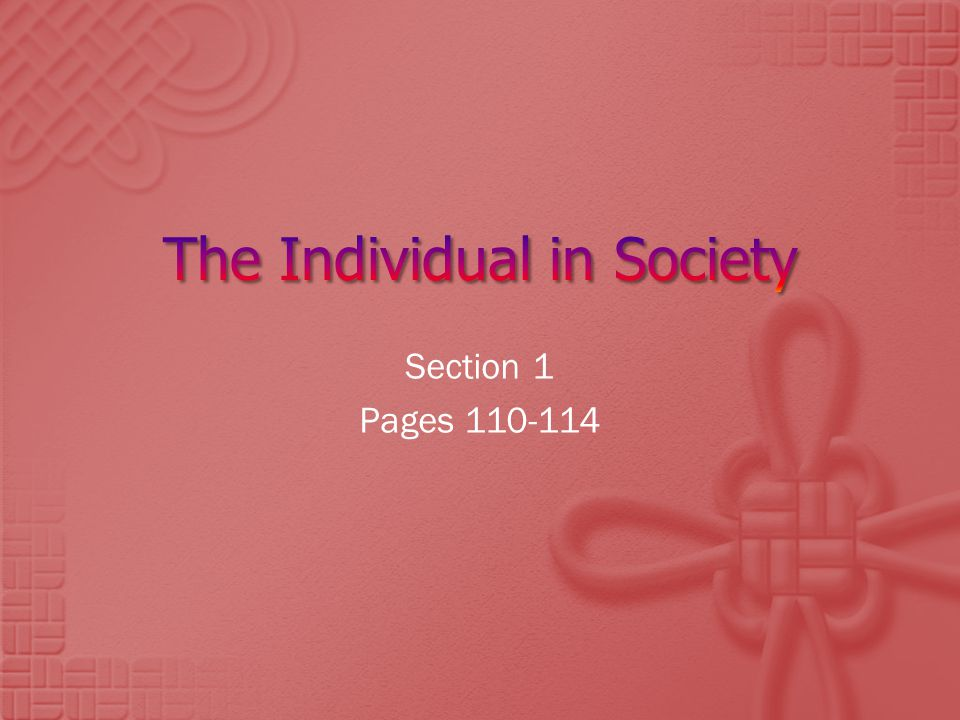 The Individual in Society