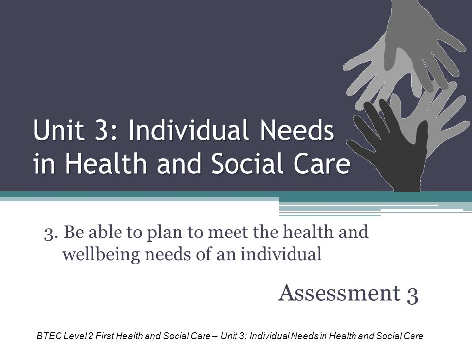 Unit 3: Individual Needs in Health and Social Care