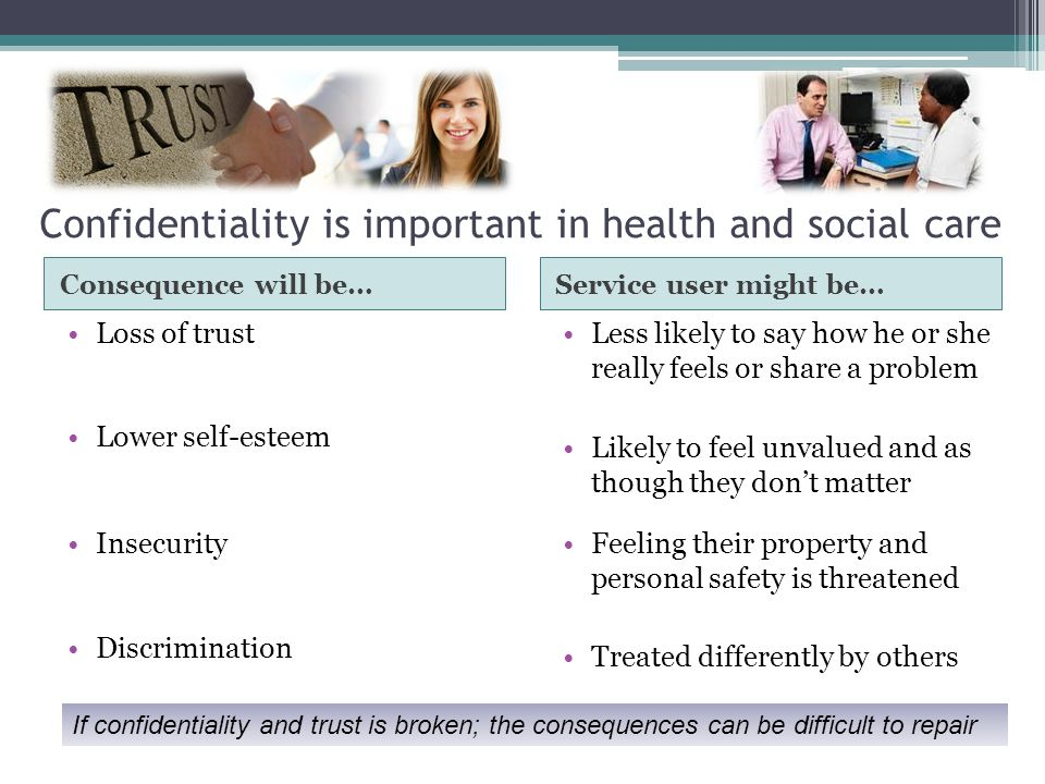 Confidentiality is important in health and social care