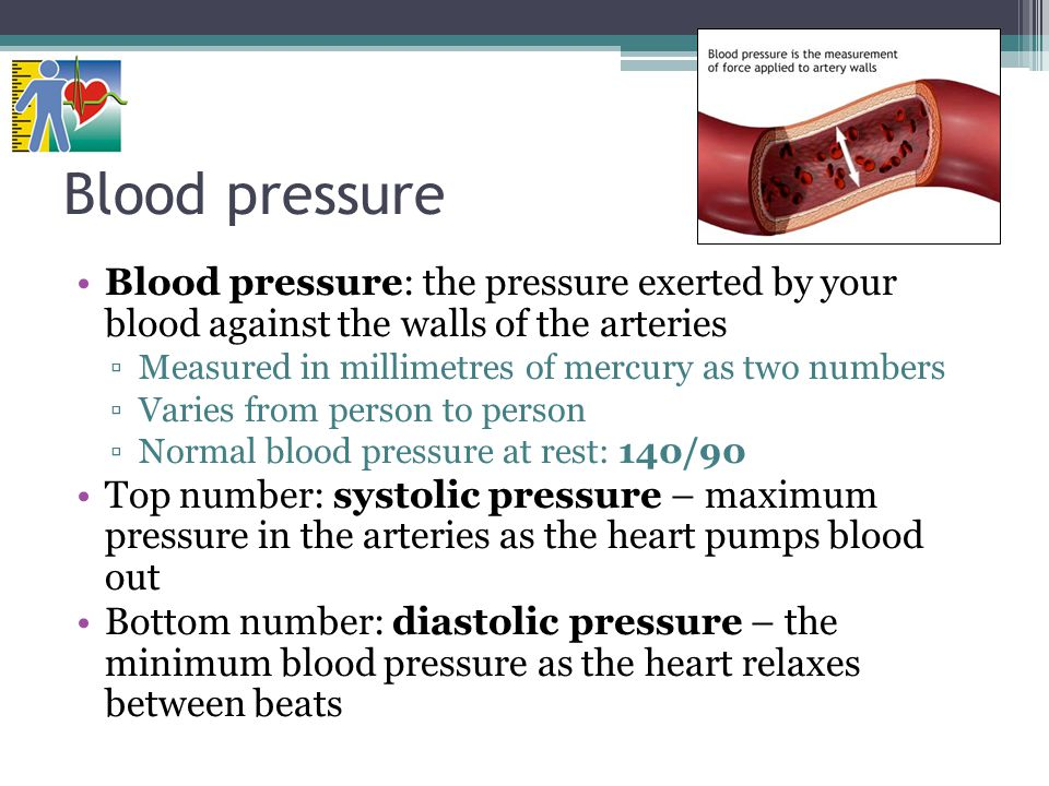 Blood pressure Blood pressure: the pressure exerted by your blood against the walls of the arteries.