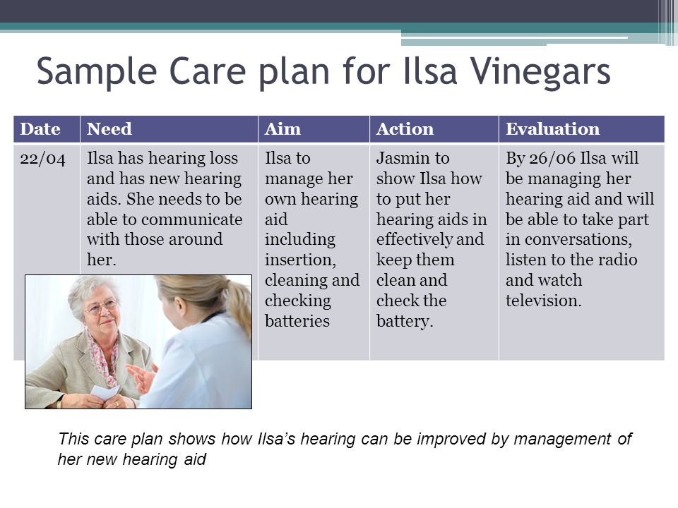 Sample Care plan for Ilsa Vinegars