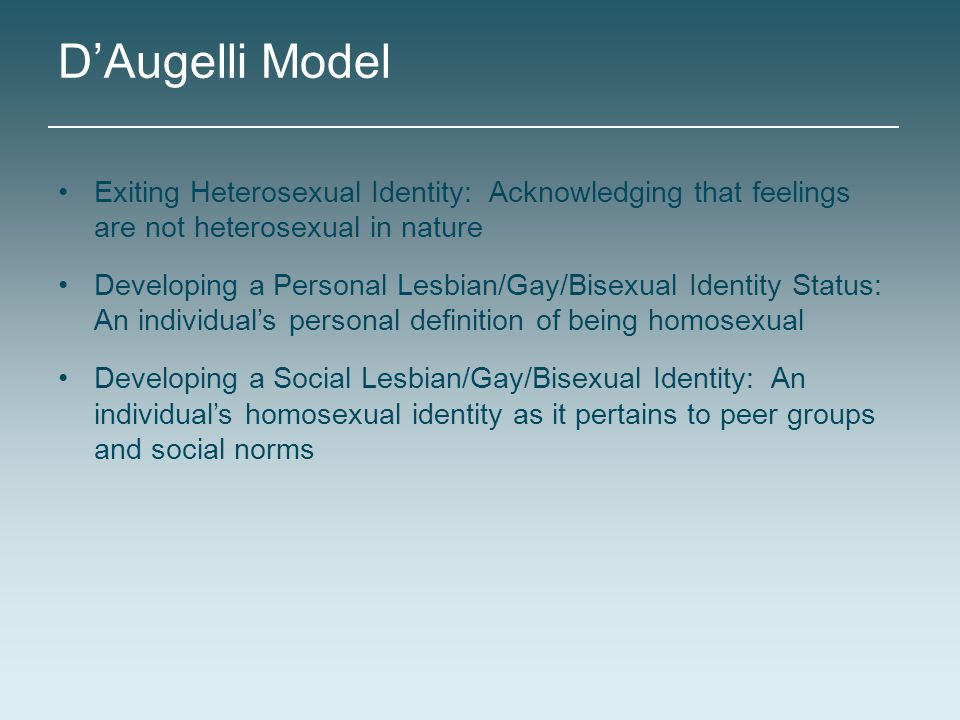D'Augelli Model Exiting Heterosexual Identity: Acknowledging that feelings are not heterosexual in nature.