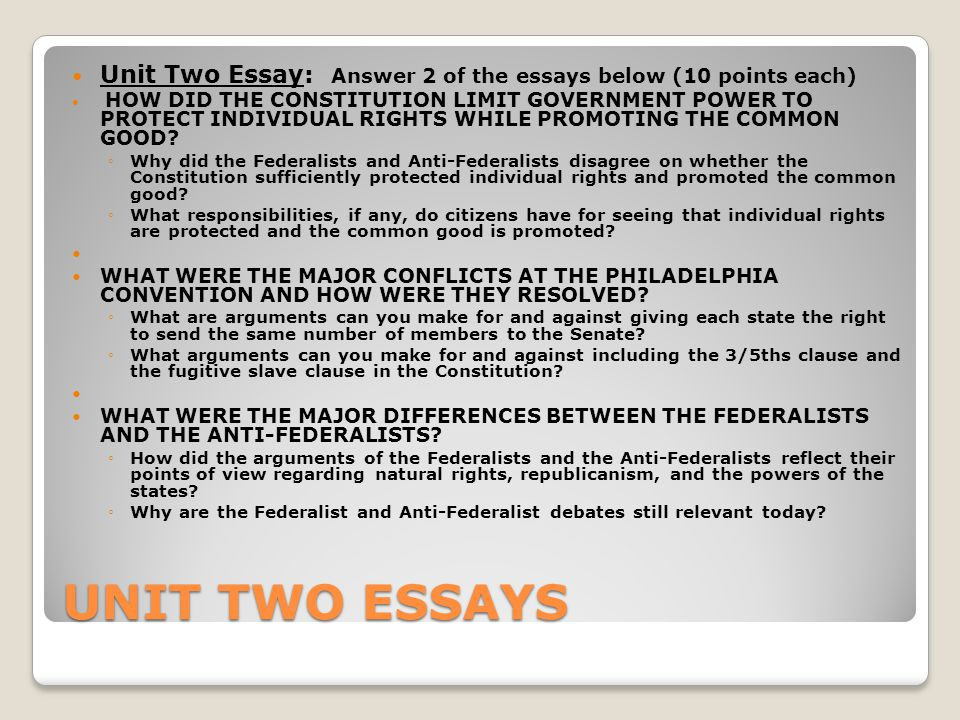 Compare and contrast the Federalists and Anti-federalists?