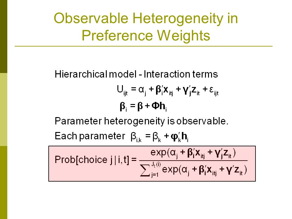 Observable Heterogeneity in Preference Weights