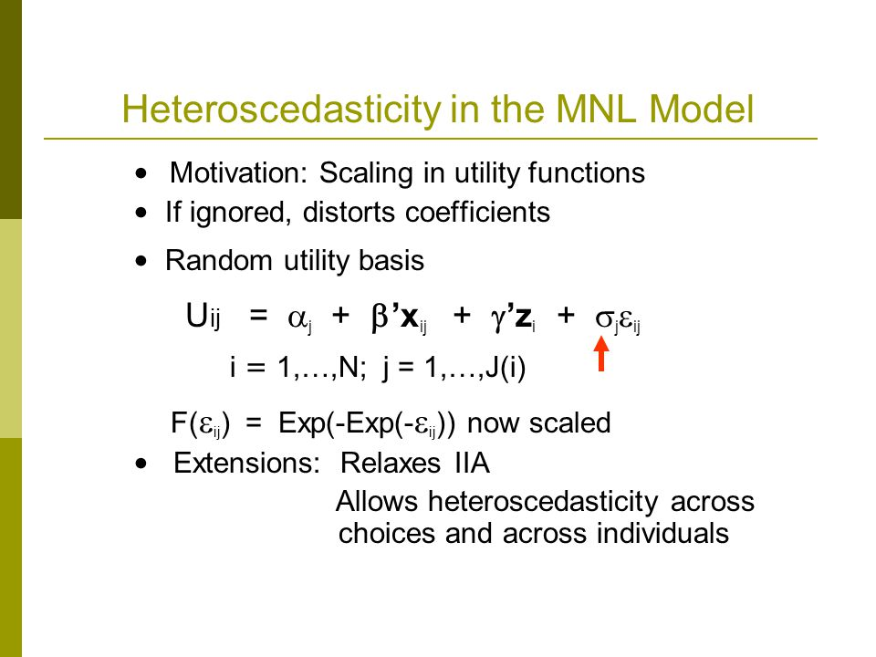 Heteroscedasticity in the MNL Model