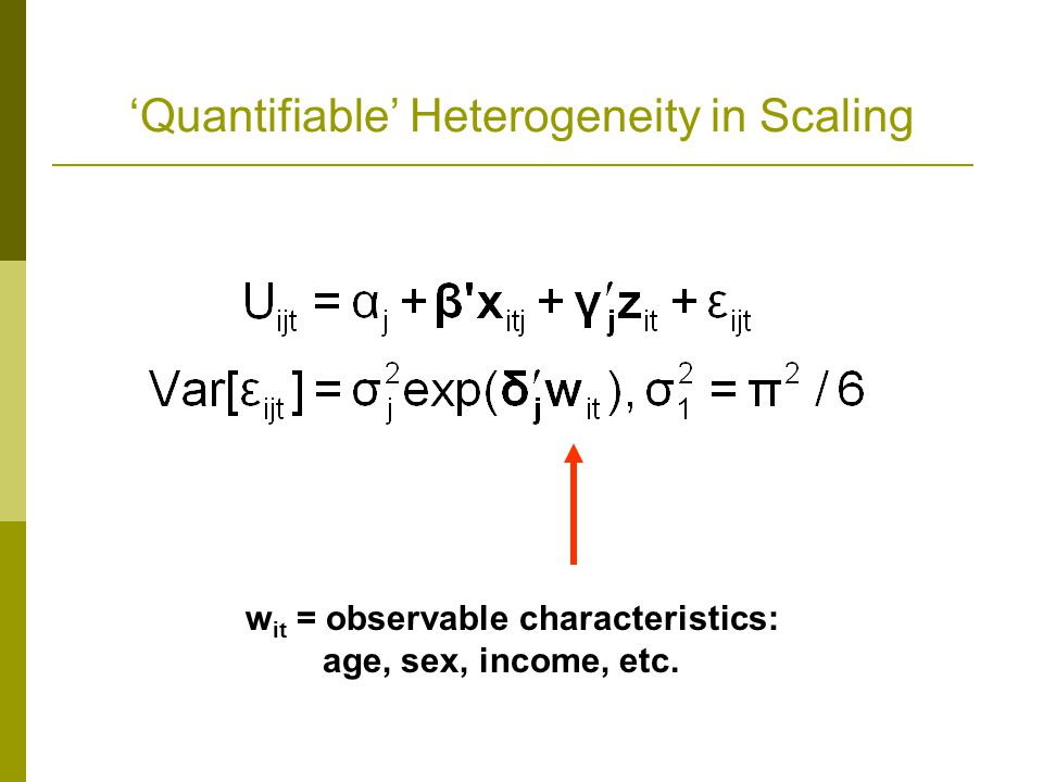 'Quantifiable' Heterogeneity in Scaling