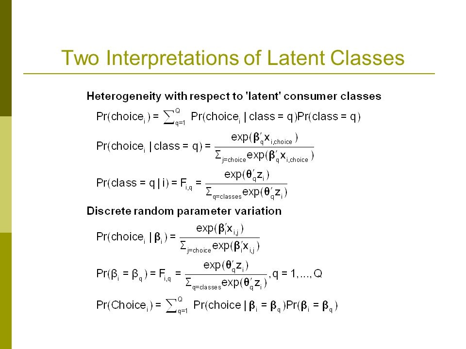 Two Interpretations of Latent Classes