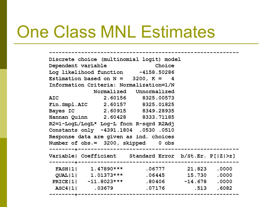 One Class MNL Estimates