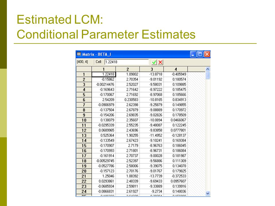 Estimated LCM: Conditional Parameter Estimates