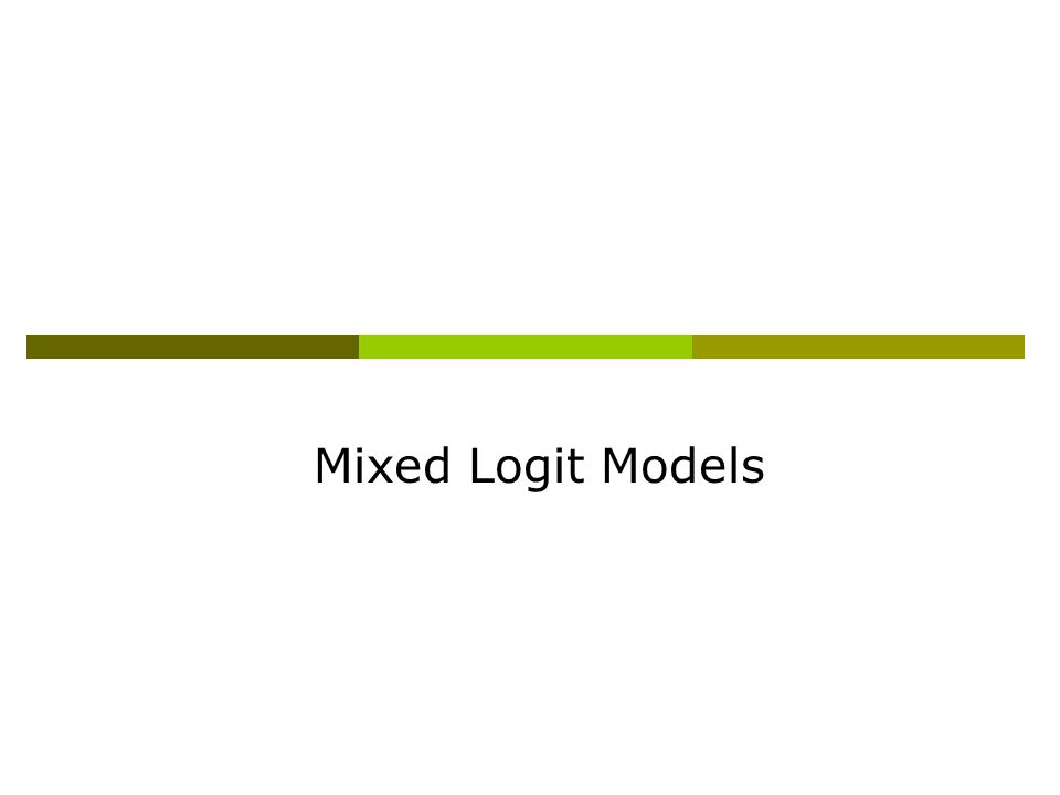 Mixed Logit Models