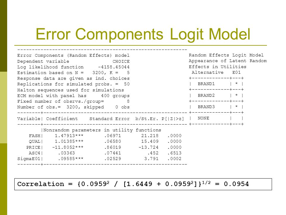 Error Components Logit Model