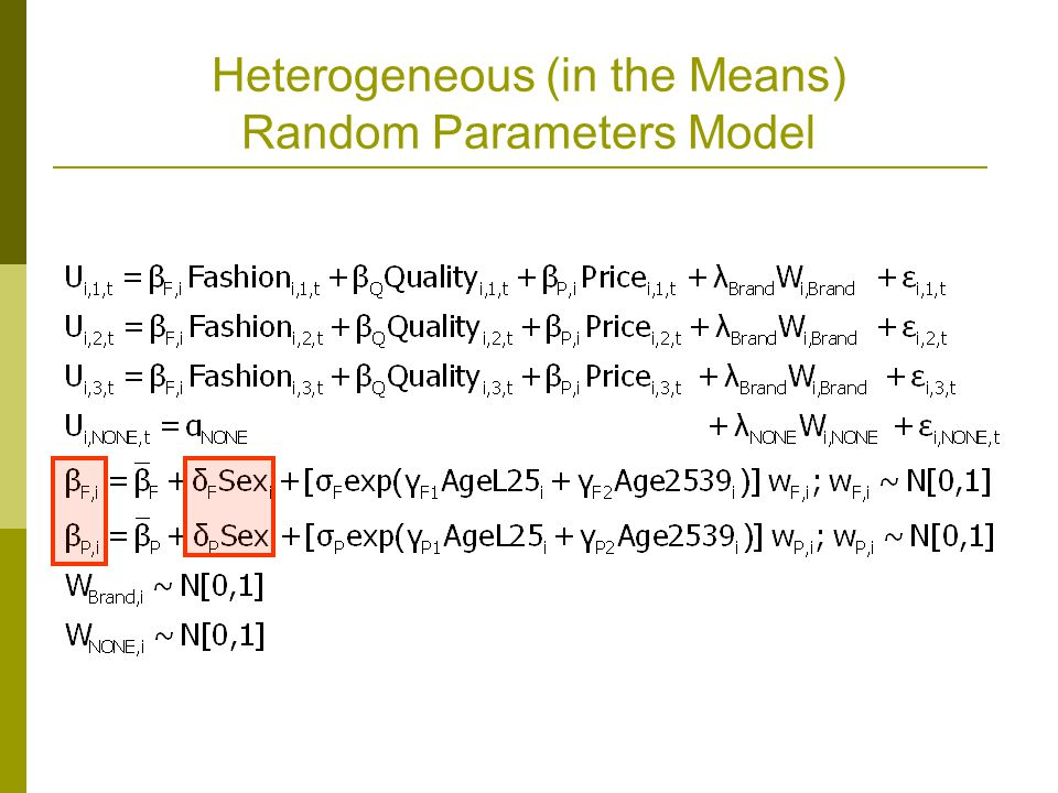 Heterogeneous (in the Means) Random Parameters Model