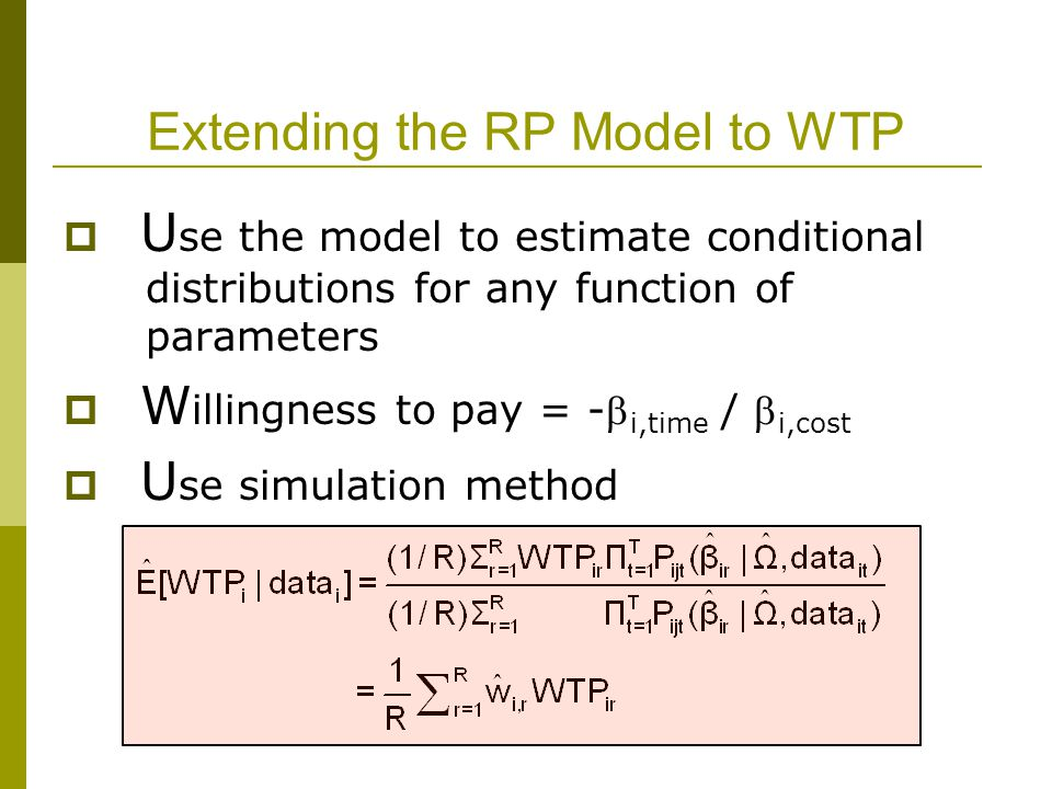 Extending the RP Model to WTP