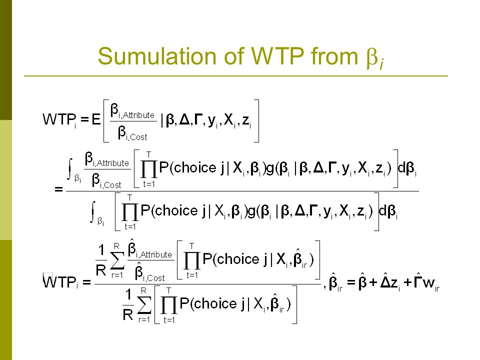 Sumulation of WTP from i