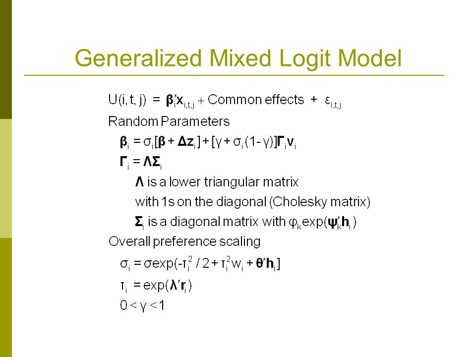Generalized Mixed Logit Model