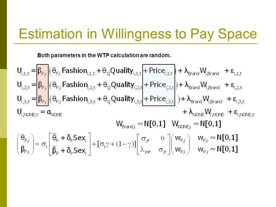 Estimation in Willingness to Pay Space