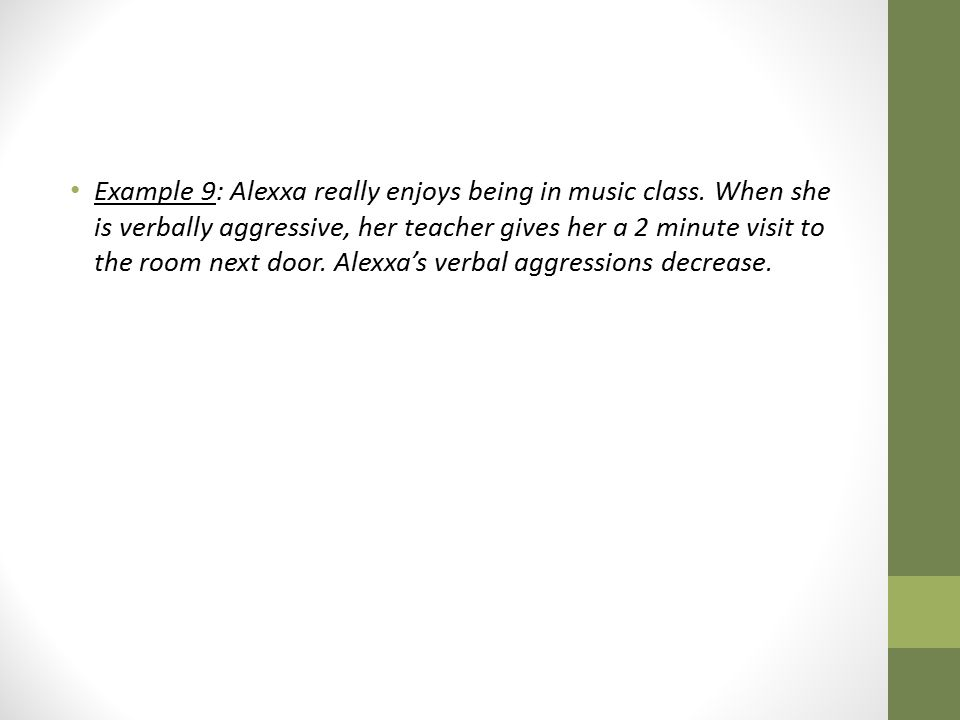 Example 9: Alexxa really enjoys being in music class