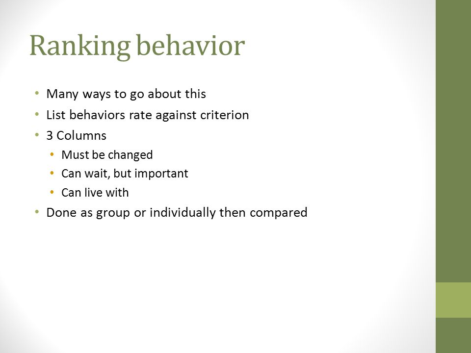 Ranking behavior Many ways to go about this