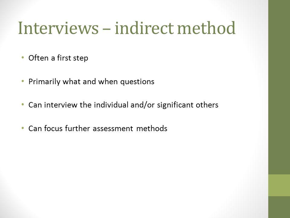 Interviews – indirect method