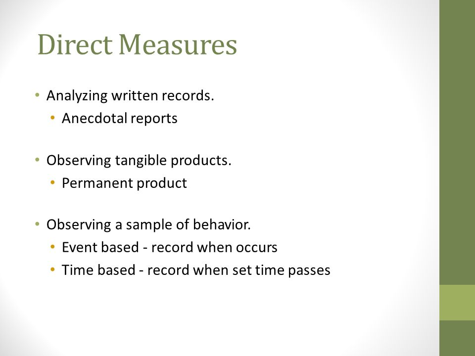 Direct Measures Analyzing written records. Anecdotal reports