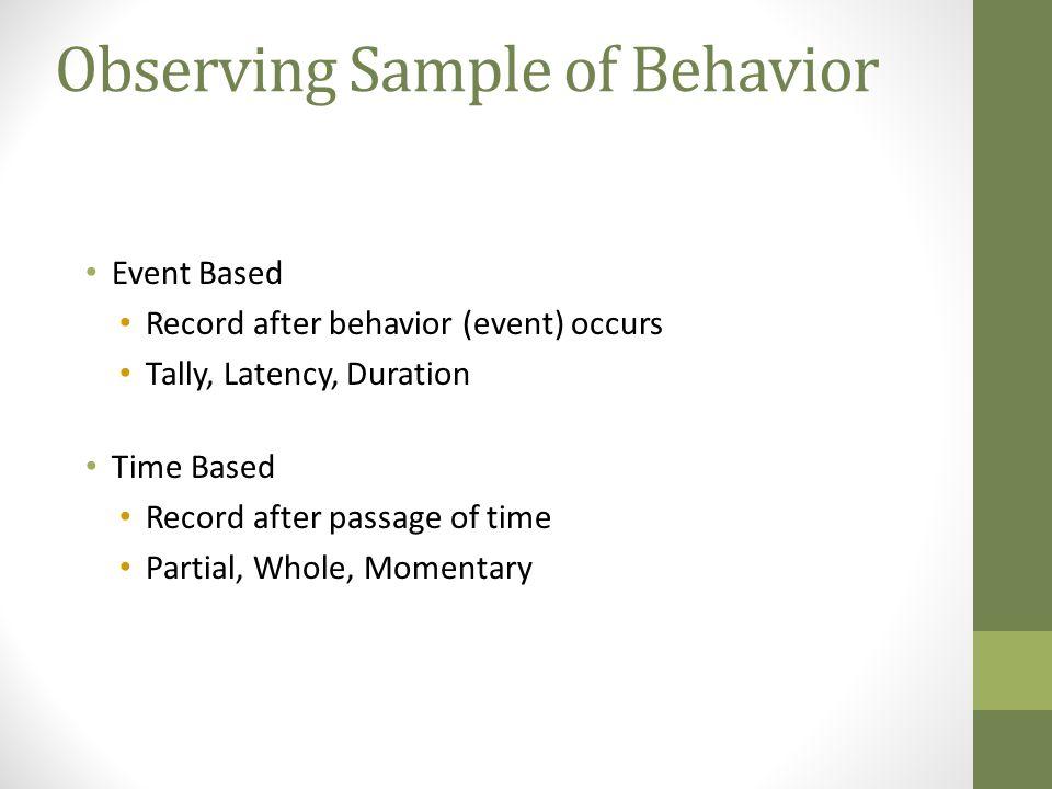 Observing Sample of Behavior