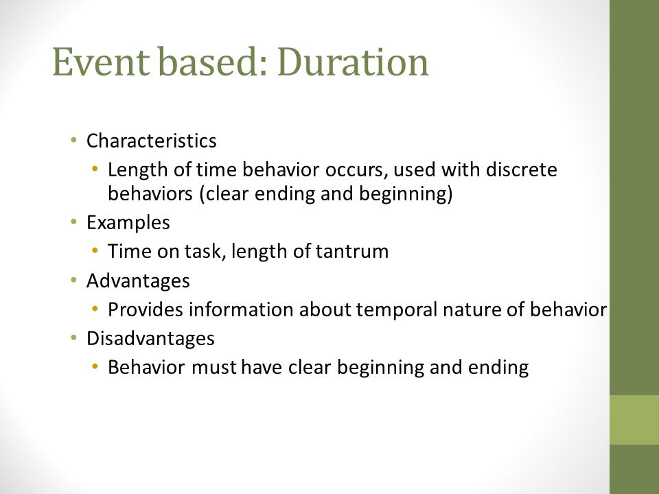 Event based: Duration Characteristics