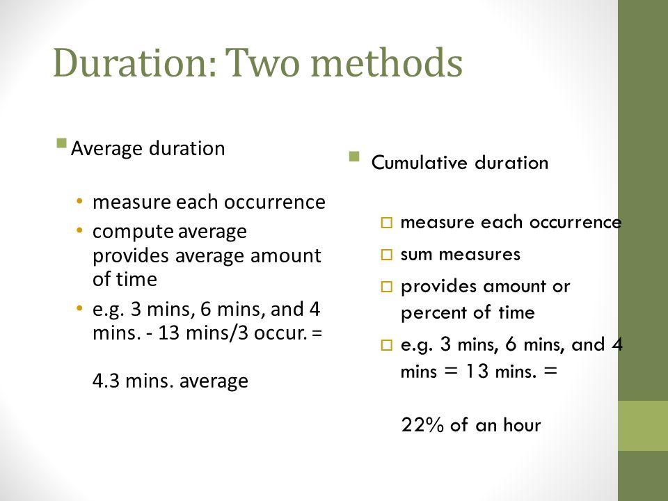 Duration: Two methods Average duration Cumulative duration