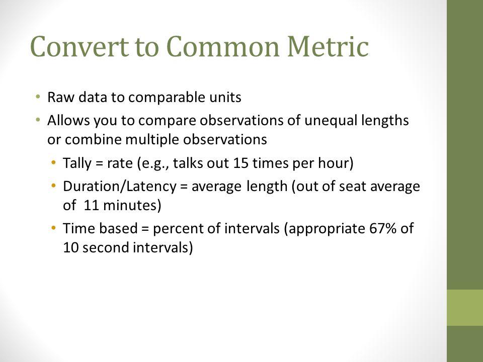Convert to Common Metric