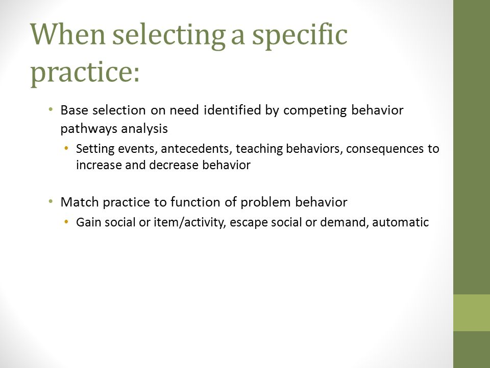 When selecting a specific practice: