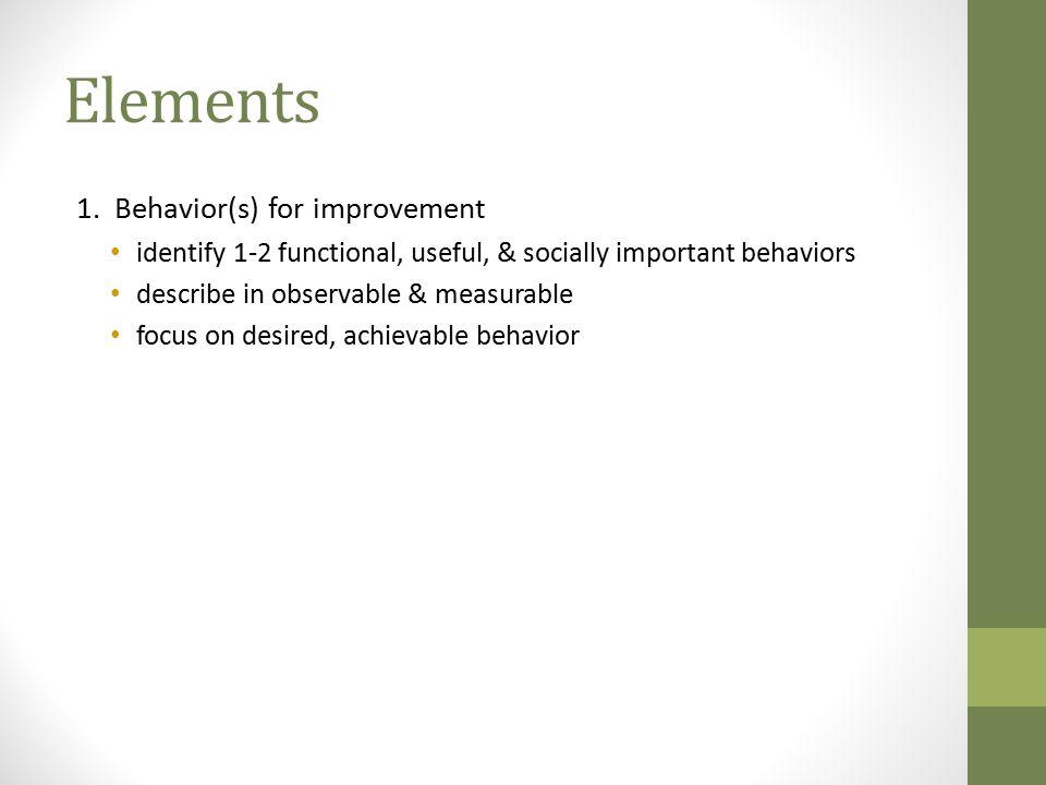 Elements 1. Behavior(s) for improvement